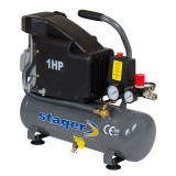 Compresor aer Stager, 700 W, 8 bar, 6 l, 126 l/min, 2850 rpm, monofazat, angrenare directa