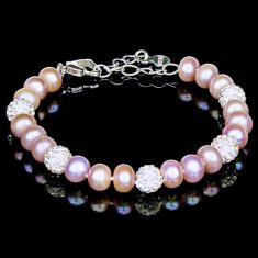 Bratara cu Perle Naturale si Argint 925, Felicia Purple