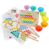 Joc Montessori  indemanare si asociere culori cu bile colorate si bete din lemn