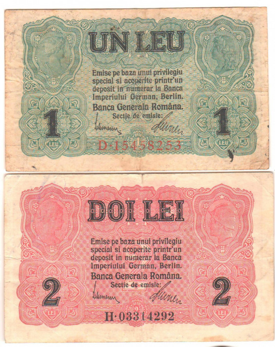 SV * BANCA GENERALA ROMANA * 1 LEU si 2 LEI 1917 * Guvernul in Exil la Iasi  WWI