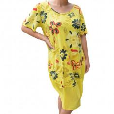 Rochie Agnette, imprimeu camp flower, nuanta de galben