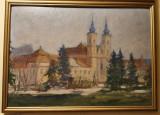 Veche pictura in ulei pe carton - peisaj citadin, Peisaje, Altul
