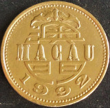 Moneda exotica 1 PATACA - MACAO / MACAU, anul 1992 *cod 4608, Asia