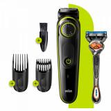 Aparat de tuns barba Braun, 39 setari, buton rotativ, aparat de ras Gillette Fusion5 ProGlide inclus, Negru/Verde