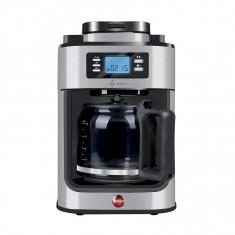 Cafetiera Filtru din Inox pentru Cafea Boabe cu Rasnita Macinare Incorporata Eldom, Putere 1050 W, Capacitate 1.2L, Negru/Argintiu