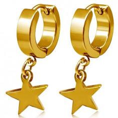 Cercei aurii din oţel, verigi cu stea care atârnă