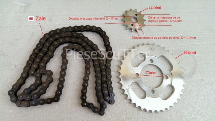 Kit 2 Pinioane + Lant Transmisie ATV 125cc 150cc - 60 ZALE - Pas 428