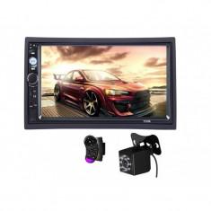 2Din, mp3/mp5 player auto universal 7010b, Navigatie MirrorLink, Rama, Camera patrata Telecomanda volan