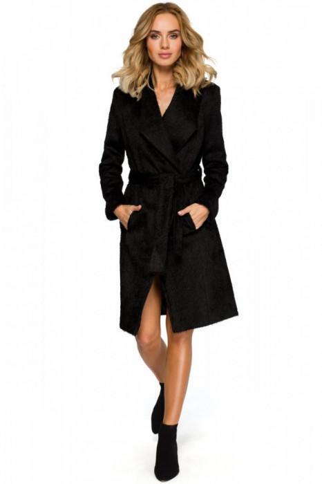 Palton elegant, cu cordon, in nuanta de negru