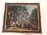 Cumpara ieftin Tablou pictura ulei pe carton Cruciada inramat 1992 dimensiune mare, Scene lupta, Altul