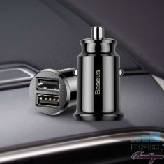 Incarcator Auto cu Incarcare Rapida Samsung iPhone Universal Dual Port USB Negru foto
