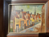 Tablou vechi ulei pe panza semnat, Peisaje, Realism