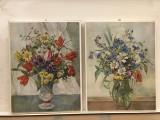 Pereche de tablouri,litografii germane,reprezentand flori