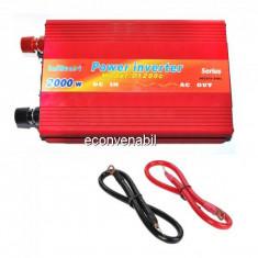 Invertor Auto 24V la 220V 2000W Constant Max.1200W Cabluri fara Clesti