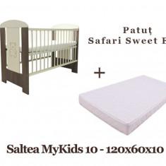 Patut copii Klups Safari Sweet Bear + Saltea MyKids Basic II 10cm