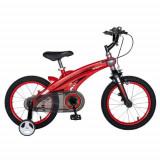 Bicicleta Copii Rich Baby W1639D, roti 16inch, cadru aliaj magneziu, frana C-Brake, roti ajutatoare, 4-6 ani, (Rosu/Negru)