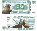!!! RARR : FANTASY NOTE =  ISLE OF BOUVET - 20 DOLARI 2011 - UNC / SERIA B
