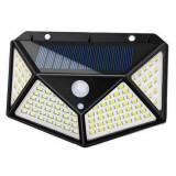 Cumpara ieftin Lampa solara pentru exterior 100 LED-duri cu senzor de miscare cu Bricheta glont si mini lanterna cu incarcare USB