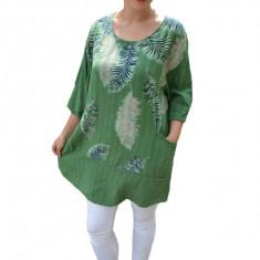 Bluza lejera Debrah cu imprimeu tip pana pe fond verde, 50, 52, 54, 56, 58