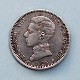 SPANIA  -  1 Peseta 1903  -  Alfonso XIII  -  Argint 5 g.