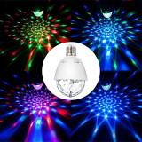 Bec LED RGB rotativ 3W, E27, proiectie disco multicolora