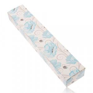 Cutiuță de cadou crem din hârtie pentru lanț sau ceas de mână, maci albaștri