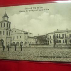 Ilustrata Salutari din Tulcea - Biserica Sf.Gheorghe si Liceul de Fete ,anii'20