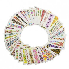 Set stickere/abtibilduri pentru unghii pe baza de apa Flori de vara 49 folii