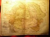 Harta  Romaniei Mari-pe Regiuni  Inst.Cartogr.Unirea Brasov 1923 ,dim.=41x30cm