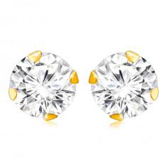 Cercei din aur galben 375 - zirconiu rotund clar, cleștișori lucioși