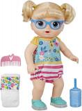 Papusa bebelus blond, Baby Alive, Paseste si pantofii vor lumina, 35 cm