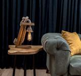 Lampa de masa Lustro, din lemn, 20 x 35 x 10 cm, facuta manual, 812LST1413
