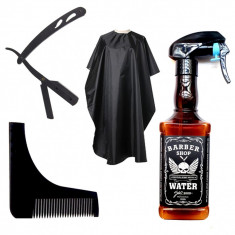 Set pulverizator imitatie sticla whisky brici metalic pelerina frizerie barber