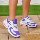 Pantofi sport dama albi cu mov Coledia