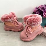 Bocanci roz imblaniti / ghete de iarna cu sclipici pt fete copii 29
