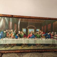 Tablou religios icoana in rama de lemn si cu sticla, Cina cea de taina, vechi
