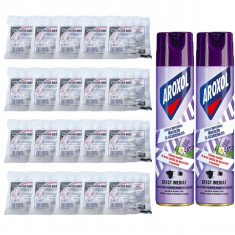 20 x Naftalina bile / plastile 80g + 2 x Aroxol spray anti-molii 250ml