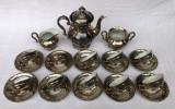 Serviciu pentru cafea din portelan vechi argintat de Bavaria
