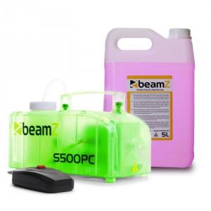 Beamz S500PC, mașină de ceață, inclusiv 5 litri lichid de ceață, RGB, LED-uri, 500 W, transparent
