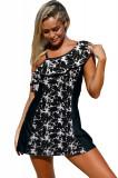 SW1420-211 Costum de baie intreg stil rochita cu model monocrom, M, S/M, XL