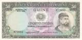Bancnota Guineea Portugheza ( Guineea Bissau ) 50 Escudos 1971 - P44 UNC