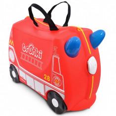 Valiza pentru copii Ride-On Masina de Pompieri Trunki, Rosu, 46 cm