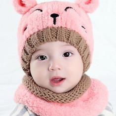 Set roz ursulet cu fular si caciula, 1-2 ani, 12-18 luni, 6-9 luni, 9-12 luni