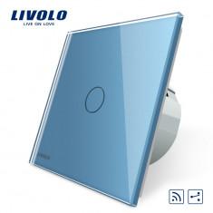 Intrerupator cap scara / cap cruce wireless cu touch Livolo din sticla, Albastru