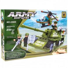 Set cuburi lego tanc militar si elicopter, 253 piese, multicolor