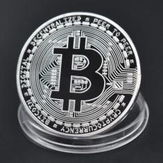 Moneda Suvenir Bitcoin, diametru 40 mm, Argintiu