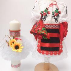 Set Traditional Botez Costumas fetita Lumanare