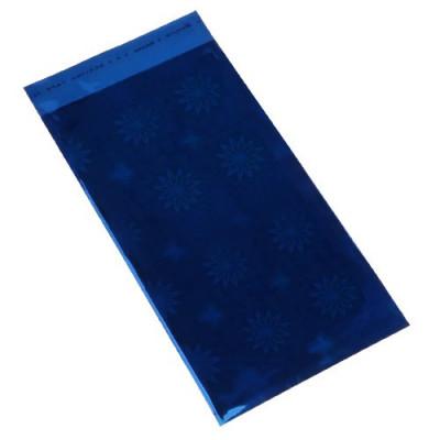 Pungă de cadou realizată din celofan în culoare albastră cu model cu flori foto