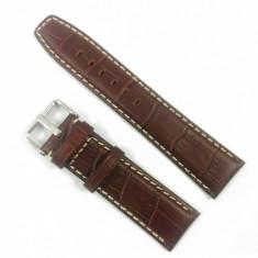 Curea de ceas din piele naturala Maro cu imprimeu crocodil 18mm, 20mm, 22mm - WZ3385