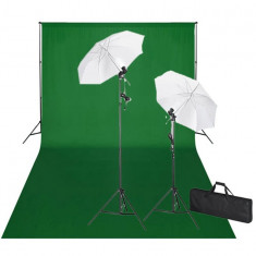 Kit studio foto, fundal verde, 600 x 300 & lumini